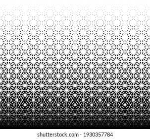 Geometric pattern of black triangles on a white background. Seamless in one direction. Option with a MIDDLE fade out. Based on japanese pattern Kumiko zaiku.
