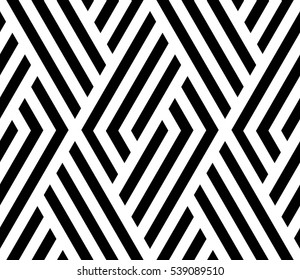 The geometric pattern by stripes . Seamless vector background.  Black and white texture. Graphic modern pattern