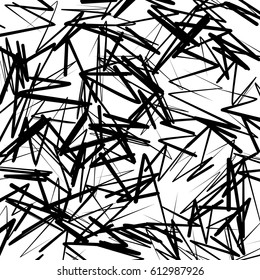 Geometric pattern of chaotic random shapes. Rough edgy texture.  Abstract monochrome background, abstract texture.