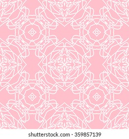 The geometric pattern with circles and lines. Seamless background. Pink and white ornament