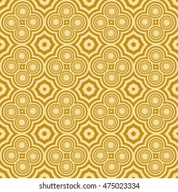 geometric pattern of circles and ovals. Seamless vector illustration. for the design, printing, presentations, wallpapers. gold color