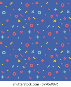 Geometric pattern with circles, stars, dotes, pluses and crosses. Blue holyday background for the cover of the Memphis style or background