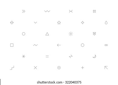 Geometric pattern with different simple signs in thin style. White horizontal background with forms in gray colors. Web design element save in vector illustration 8 EPS