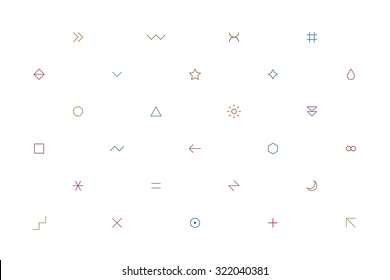 Geometric pattern with different simple signs in thin style. Light white horizontal background. Yellow, orange, red, brown, green, blue, purple, violet colors. Web design element in vector 8 EPS