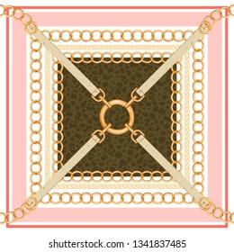 Geometrisches Muster mit goldenen Ketten, Gürteln und Tierhaut. Trenddruck für Textil, Schal, Seidenschals und Cravat Design. Vektorgrafik.