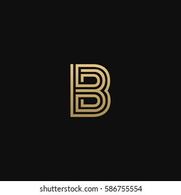 Geometric pattern and GOLDEN colour B letter icon based minimal logo