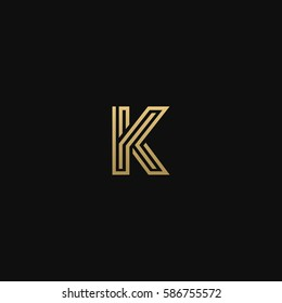 Geometric pattern and GOLDEN colour K letter icon based minimal logo