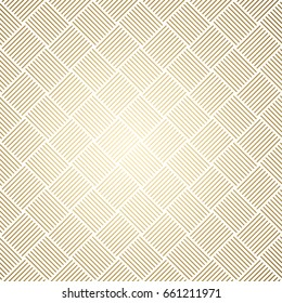 Geometric pattern. Golden lines on white background. Infinitely repeating geometrical ornament. Vector