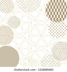 Geometric pattern in Japanese background. Circle shape template vector.