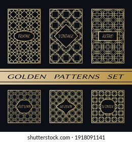 Geometric pattern with label, gold on black background. Golden, vintage, retro, autumn, winter, frame sign. Decorative abstract design, east motif, elegant line luxury foil. Openwork lace fashion set
