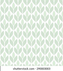 The geometric pattern with leaves. Seamless vector background. Green and white ornament