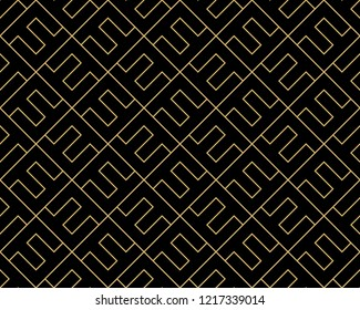 The geometric pattern with lines. Seamless vector background. Gold and black texture. Graphic modern pattern. Simple lattice graphic design