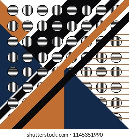 Geometric pattern with striped and circles. Trendy memphis style background