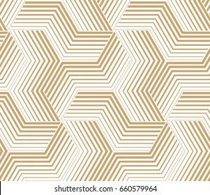 The geometric pattern with stripes, lines. Seamless background. Gold and white texture. Graphic modern pattern.