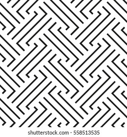 The geometric pattern with stripes. Seamless vector background. Black and white texture. Graphic modern pattern.