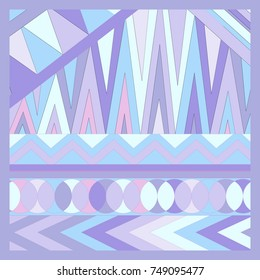 Geometric pattern with triangles and circles. For your design. Hand-drawn.