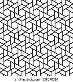 The geometric pattern with triangles, hexagons. Seamless vector background. Black and white texture