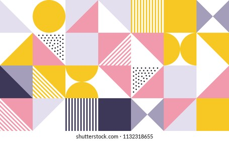 Geometric pattern vector background design of vector Scandinavian abstract color or Swiss geometry prints with rectangles, squares and circles