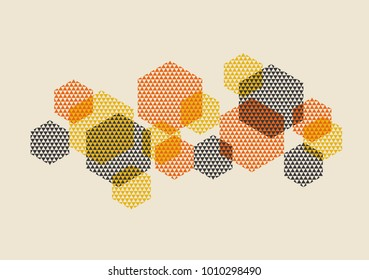 Geometric pattern vector illustration in retro 60s style. Vintage 1970s geometry shapes graphic abstract design element for invitation, header, poster, cover.