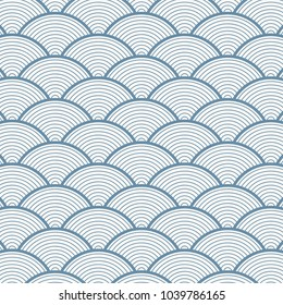 geometric pattern vector in Japan styles with blue sea wave on linear circle overlapping circle form arches. it represents power and tactical strength.