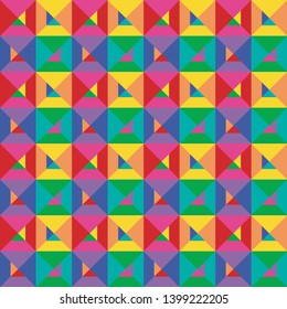 Geometric patterns of different colors on one artboard. Seamless pattern.