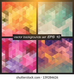 Geometric patterns set. Colorful abstract mosaic backgrounds. Vector illustration EPS 10.