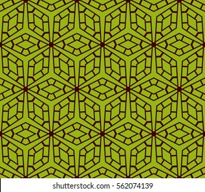 geometric patterns. Vector illustration. texture for interior design, wallpaper, print, fabric, decor. green, dark red color