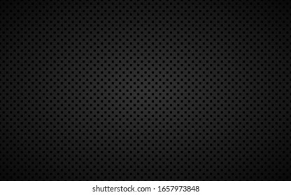 Geometric perforated square background, abstract black metallic square background, carbon kevlar texture, simple vector illustration