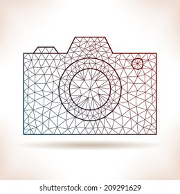 Geometric photo camera. For poster, article, card or other.
