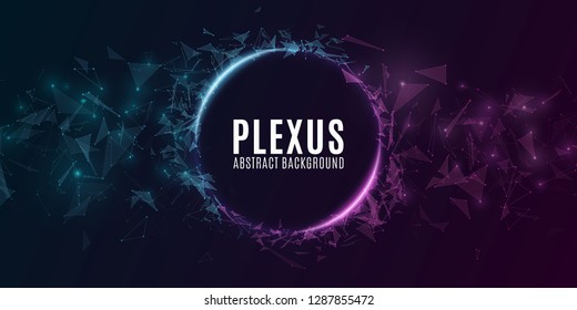 Geometric plexus banner of flying triangles and dots on a dark background. Purple and blue glowing connected triangular elements. Scientific background for your design. Vector illustration. EPS 10