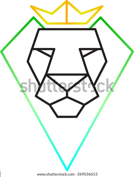 geometric polygon lion head vector with crown