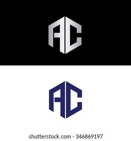 Geometric polygon shape AC initials