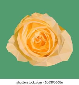 geometric polygonal orange rose, isolated polygon vector flower