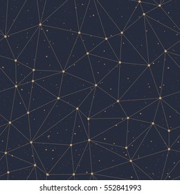Geometric polygonal seamless backgrounds. Gold pattern and dots on a black background. Vector illustration.