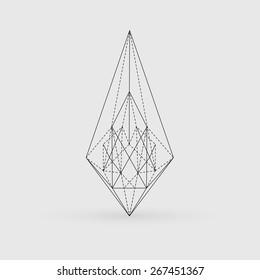 geometric polygonal triangle shape, tattoo, design vector illustration