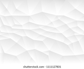 Geometric polygonal white and gray background. Mosaic triangles template for design. Paper texture. Vector illustration.