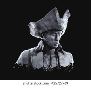 Geometric portrait of  pirate. Low poly 3D illustration.