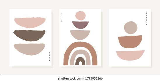 Geometric posters set with geometric  elements  on white background. Abstraction nordic paint print. Scandinavian style. Abstract contemporary modern trendy vector illustration