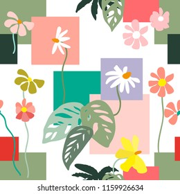 Geometric print with floral motifs. Squares, flowers and palm leaves. On white background.