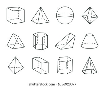 Geometric prism set, varied forms figures drawing, vector illustration, cube and octahedron, blunted cone, tetrahedron, hexagonal prism, pyramids set