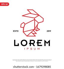 Geometric Rabbit logo. simple and modern icon, template design