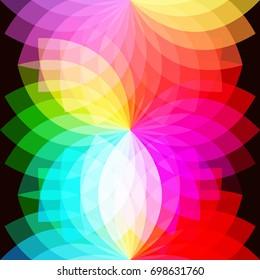 Geometric rainbow abstract petals