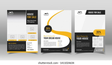 geometric real estate brochure design template. business flyer brochure designs template