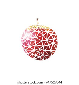 Geometric red apple. Polygonal and triangle apple