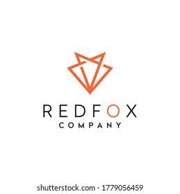 Geometric Red Fox head modern line art logo design