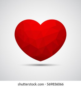 Geometric red heart on gray background. Vector illustration eps 10.