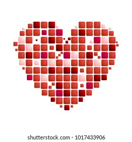Geometric red heart symbol on white background. St Valentines Day vector greeting card design