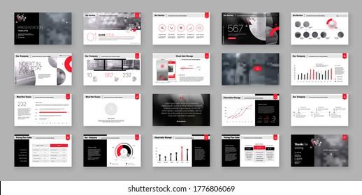 Geometric Red Presentation Element Templates. Vector infographics. For use in Presentation, Flyer and Leaflet, SEO, Marketing, Webinar Landing Page Template, Website Design, Banner.