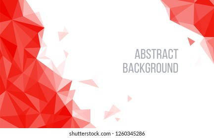 Geometric Red and White Abstract Vector Background for Use in Design. Modern Polygon Texture with Text for Presentation and Landing Design. - Vector