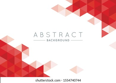 Geometric Red and White Abstract Vector Background for Use in Design. Modern Triangle Texture with Text for Presentation and Landing Design.